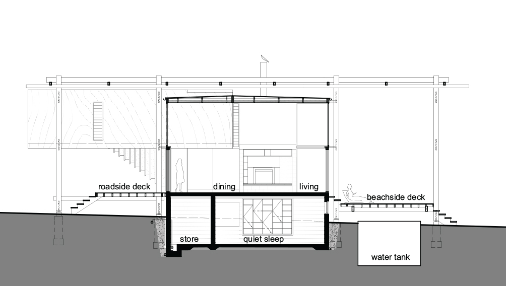 3 house section drawing spaces