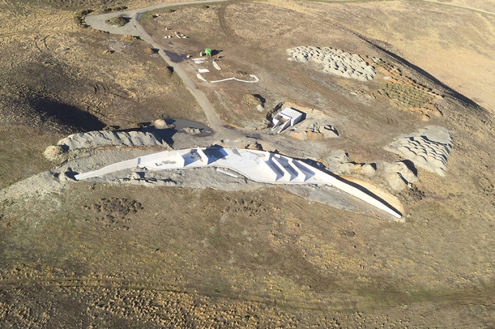 aerial view civil work precast concrete
